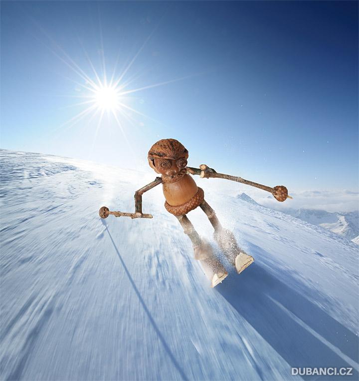 Dubánci na lyžích v Alpách