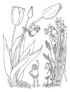 Omalovánka s jarními květinami
