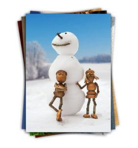Sada zimních a jarních pohlednic s dubánky